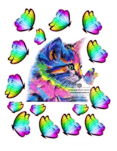 Kitten and rainbow butterflies,...