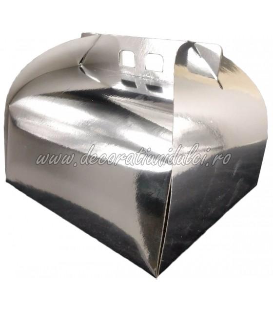 Square silver box cake