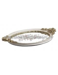 Tray oval mirror white gold