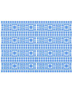 Blue stitching motifs