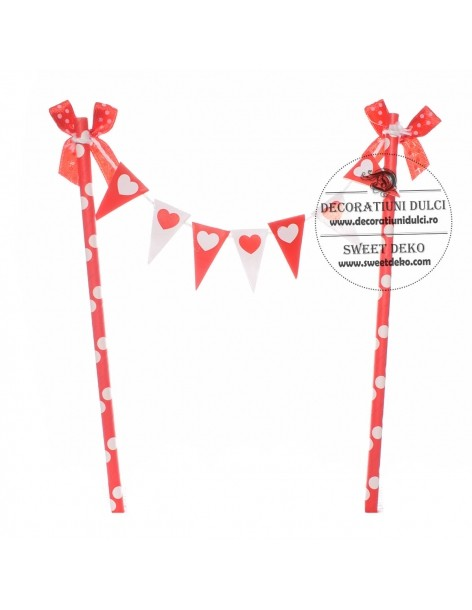 Cake topper flags with hearts