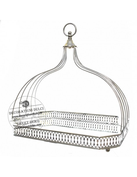 Metal tray with mirror and...