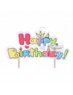 Candle label Happy Birthday!