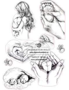Sketch baby edible image