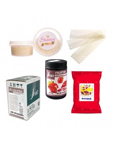 Gelling agent: gelatin, pectin, agar agar